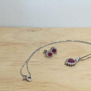 Jewelry - Sterling silver CZ JJT heart set
